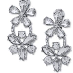Crystal Flower E-Z Comfort Clip-On Double Drop Ear